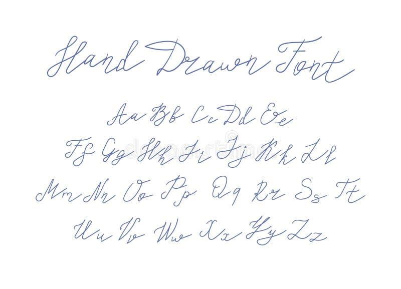 Шрифт вектора рукописный, Freehand письма сочинительства на белой предпосылке иллюстрация вектора
