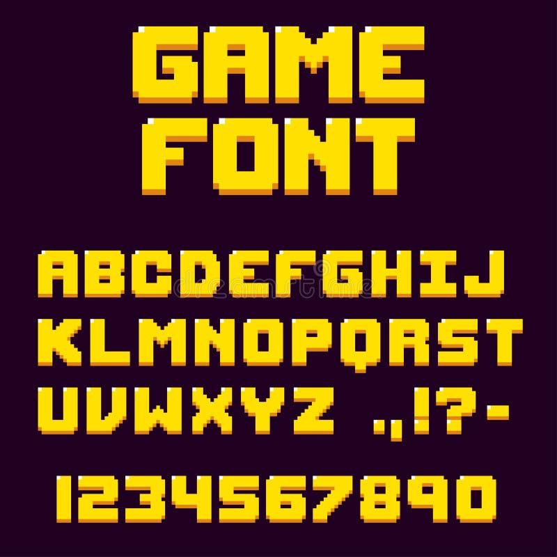 Шрифт видеоигры пиксела ретро иллюстрация вектора
