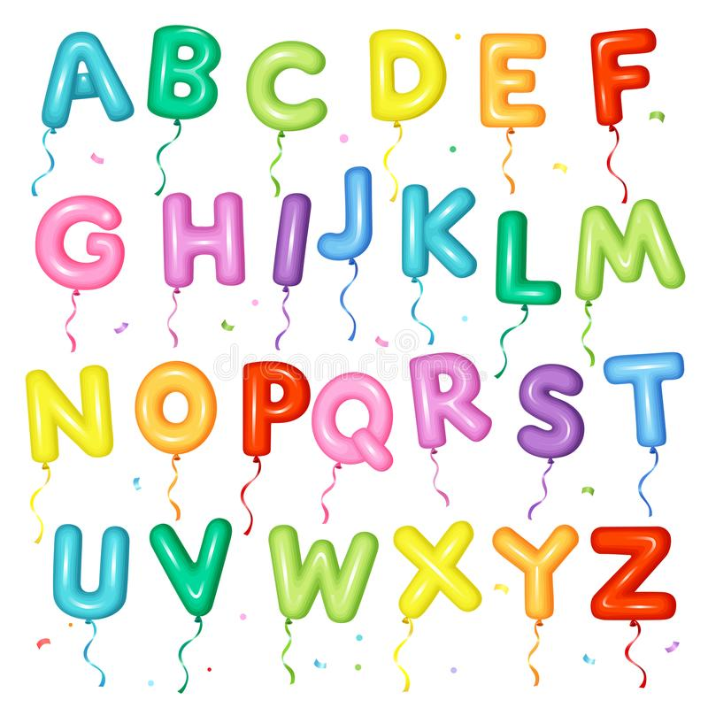 Шрифт воздушного шара красочный для детей Письма от a к z для дня рождения иллюстрация вектора