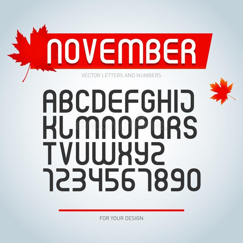 Шрифт в ноябре, комплект стилизованных писем алфавита и номера , регулярн тип шрифта стильный дизайн пальмиры бесплатная иллюстрация