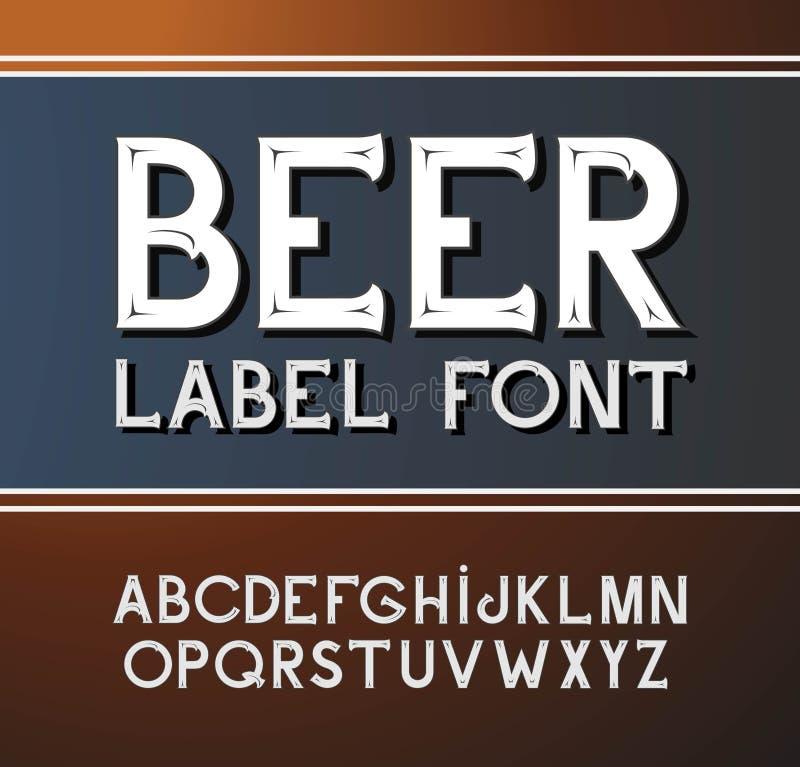 Шрифт года сбора винограда вектора Стиль ярлыка пива бесплатная иллюстрация