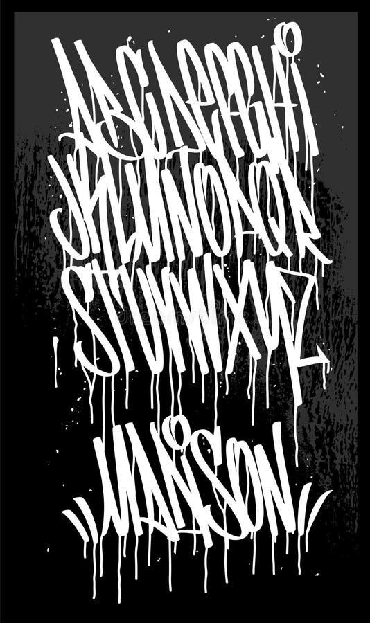 Шрифт граффити отметки, рукописная иллюстрация вектора оформления стоковое фото