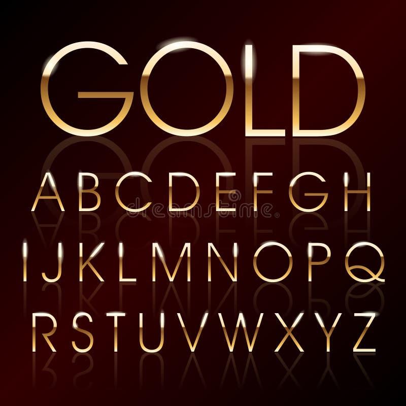 Шрифт золота вектора иллюстрация штока