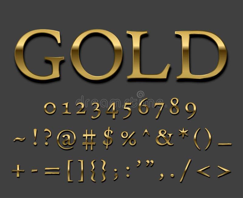 Шрифт золота иллюстрация вектора