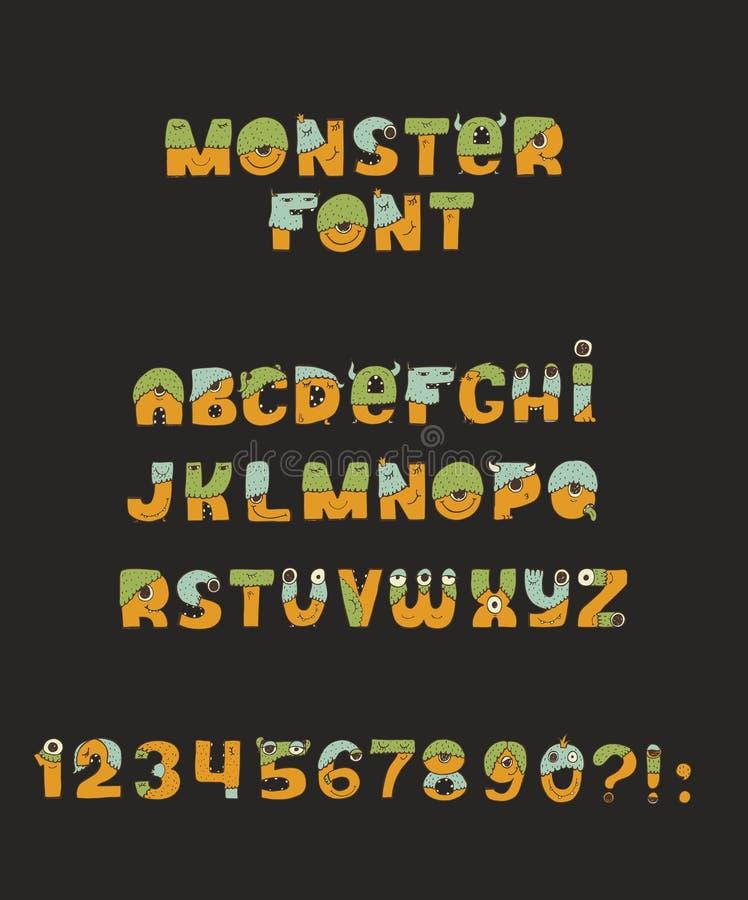 Шрифт изверга вектора милый красочный добросердечный Каждое письмо имеет уникально дизайн с мехом, глазами, носом, ртом и зубами  иллюстрация вектора