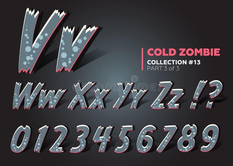 шрифт изверга вектора 3D хеллоуина Пугающие письма шаржа смешно бесплатная иллюстрация