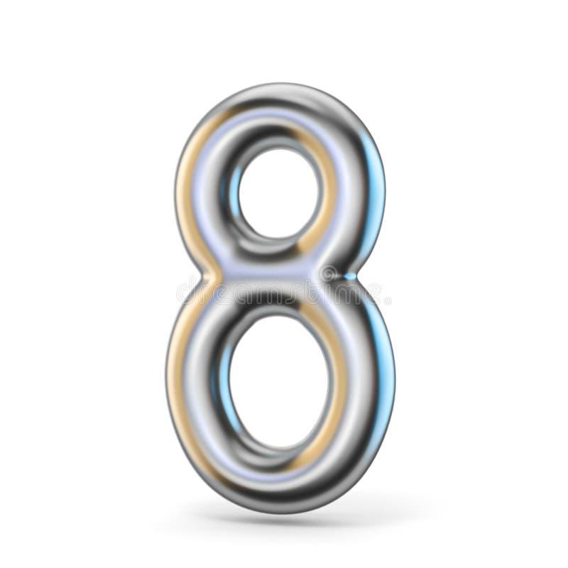 Шрифт металла серебряный 8 8 3D иллюстрация штока
