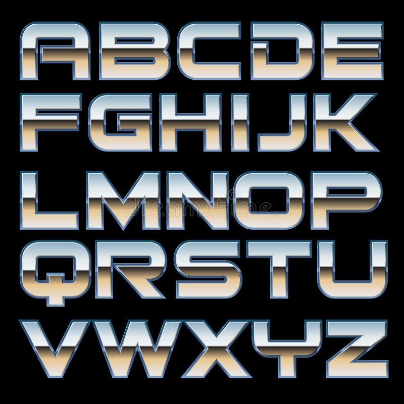 Шрифт металла вектора иллюстрация вектора