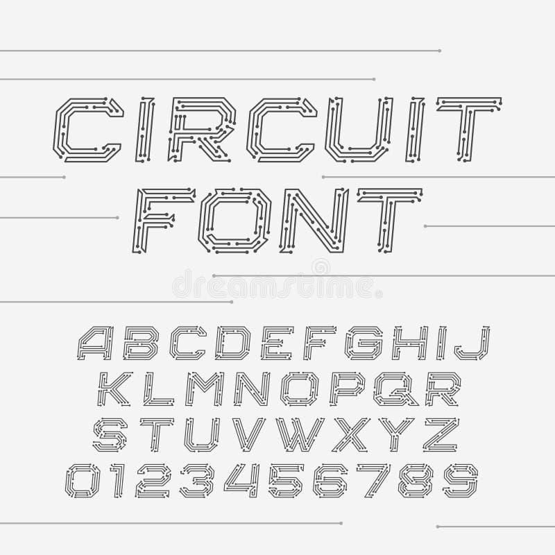 Шрифт монтажной платы элементы алфавита scrapbooking вектор иллюстрация штока