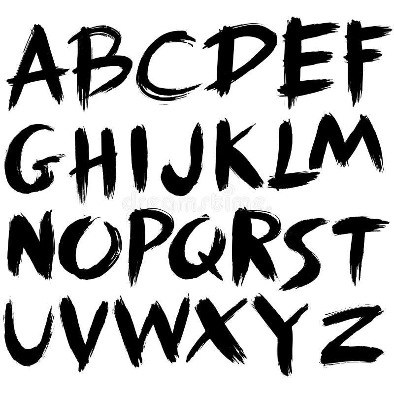 Шрифт нарисованный рукой иллюстрация вектора