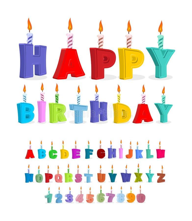 Шрифт дня рождения Письма и свечи алфавит праздничный holida иллюстрация штока