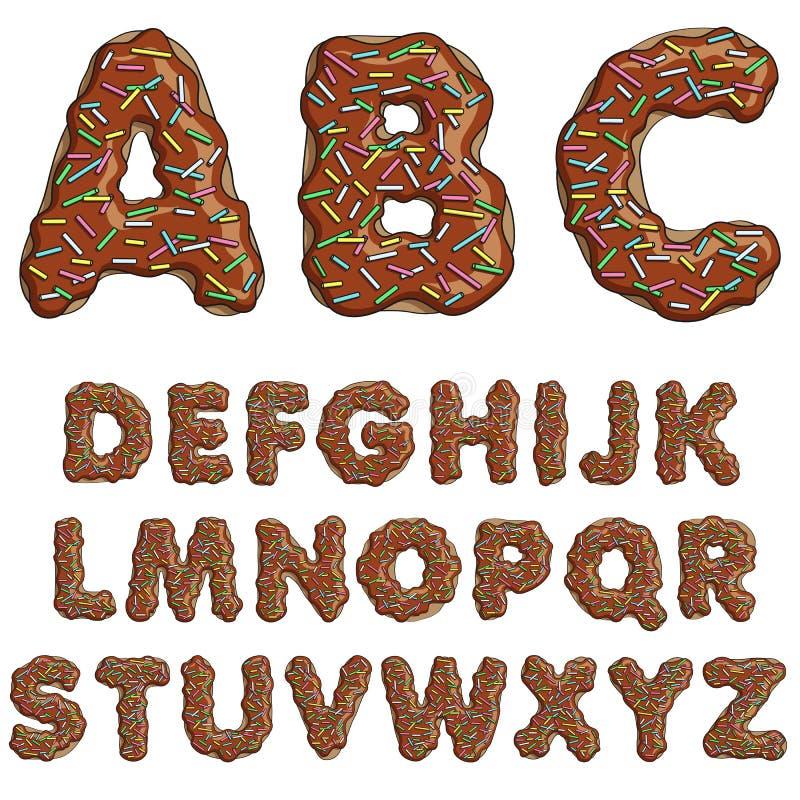 Шрифт донута, вкусные алфавиты Изолированные предметы иллюстрация штока