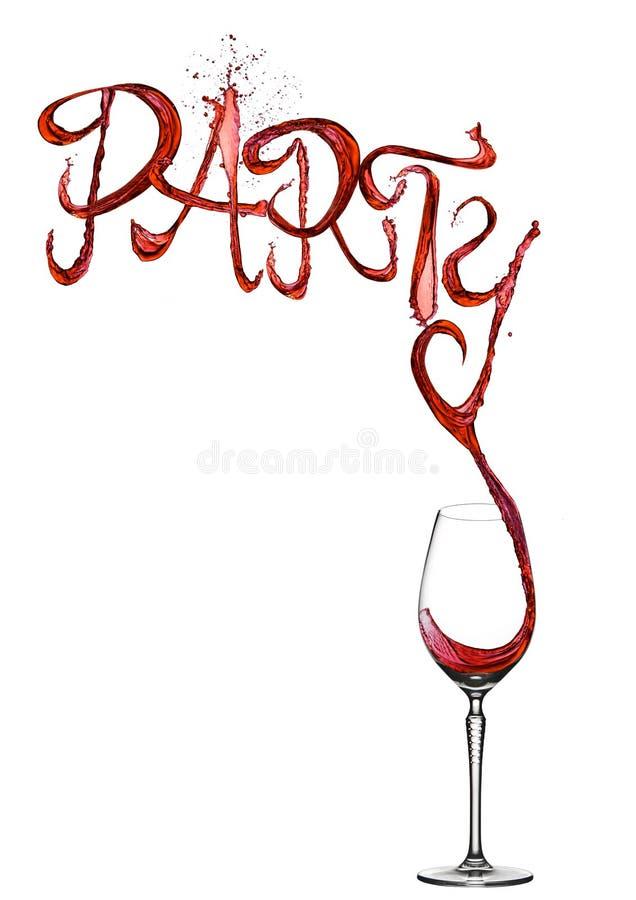 Шрифт партии выплеска красного вина лить к стеклу стоковое изображение