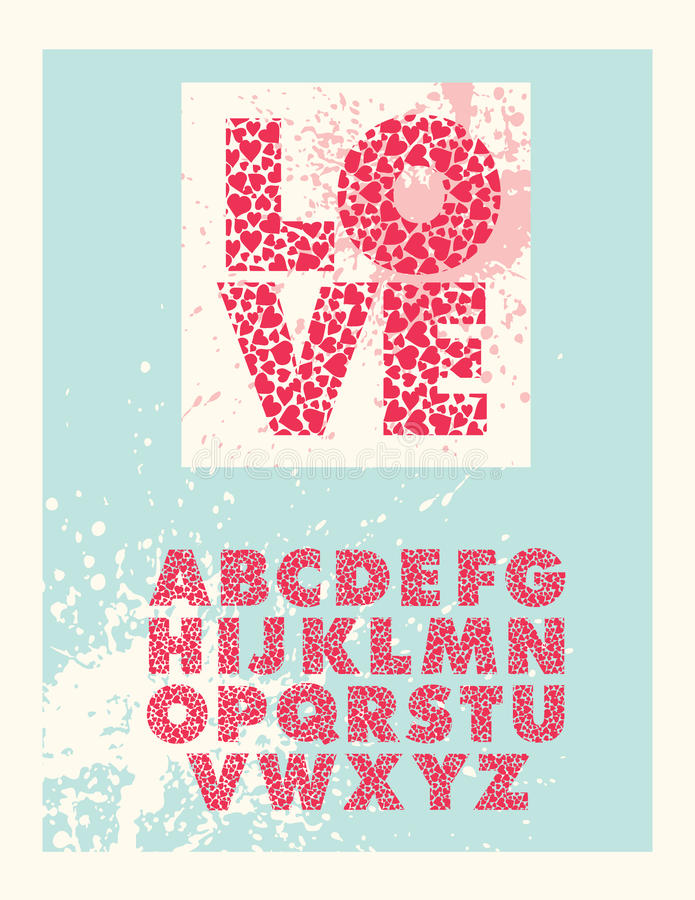 Шрифт печатной буквы валентинки иллюстрация вектора