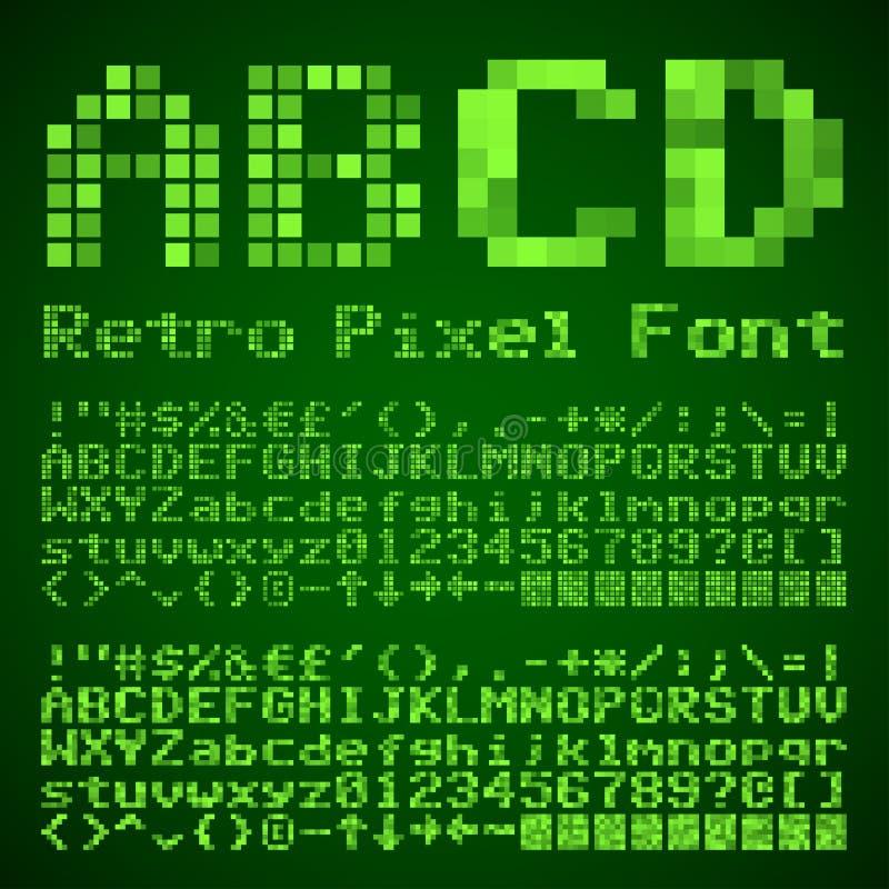 Шрифт пиксела иллюстрация вектора
