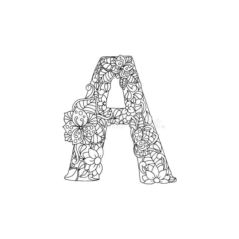 Шрифт письма a алфавита книжка-раскраски орнаментальный иллюстрация штока