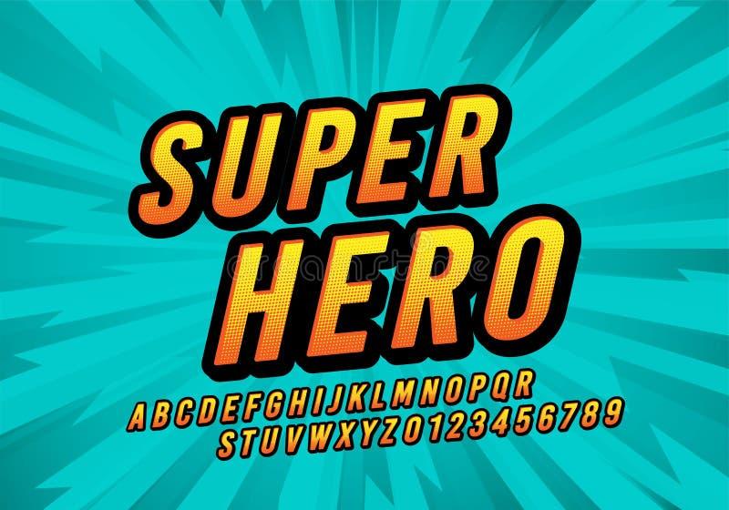 Шрифт потехи супергероя вектора шуточный Ретро алфавит писем и номеров дизайна мультфильма иллюстрация штока