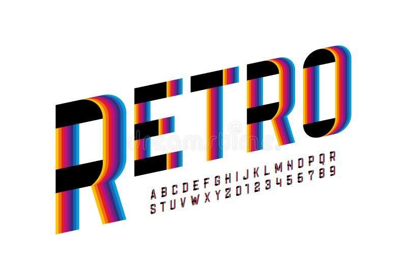 Шрифт ретро стиля красочный стоковая фотография