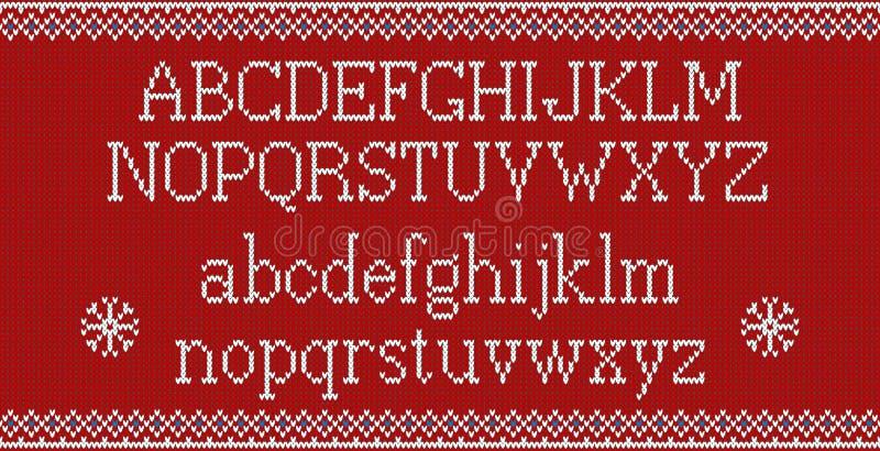 Шрифт рождества Связанный латинский алфавит на безшовной связанной картине с снежинками и елью Нордический справедливый вязать ос иллюстрация штока