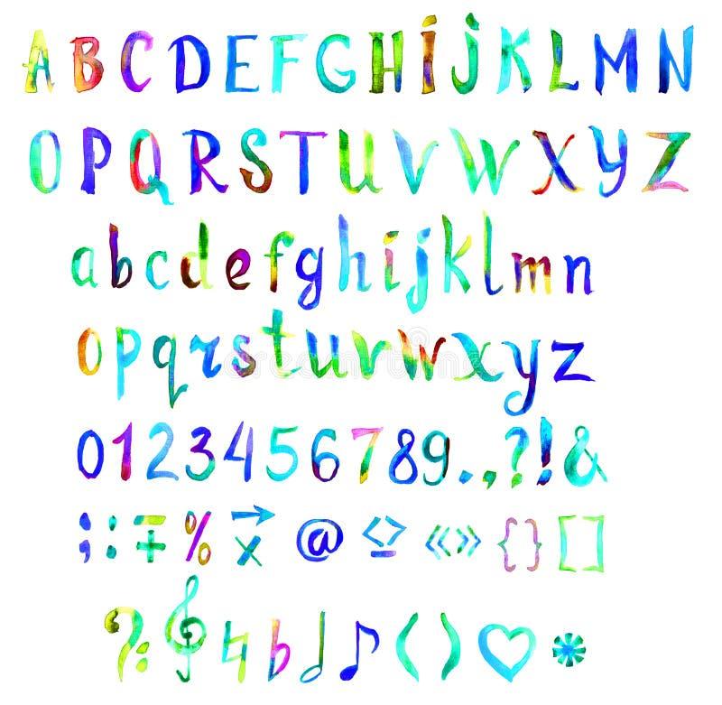 Шрифт руки покрашенный, рукописный акварели в голубых и зеленых цветах иллюстрация штока