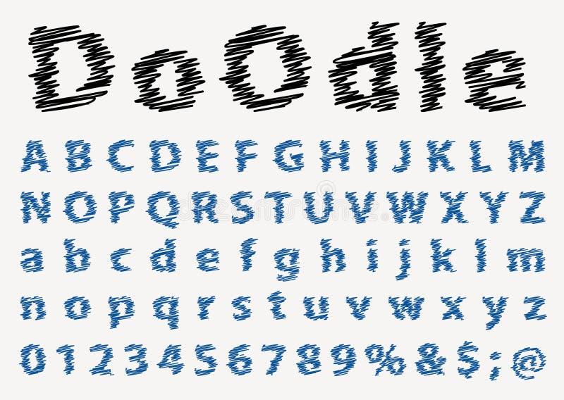 Шрифт ручки Doodle иллюстрация вектора