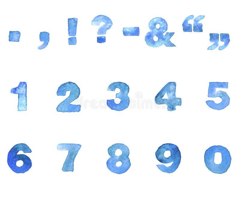 Шрифт сини акварели бесплатная иллюстрация