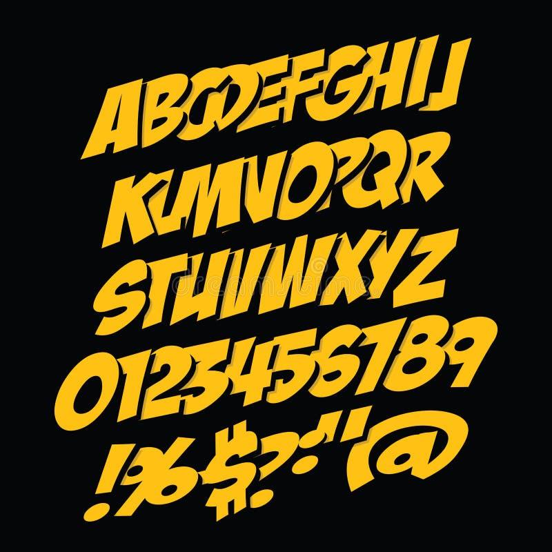 Шрифт стиля комиксов элементы алфавита scrapbooking вектор бесплатная иллюстрация