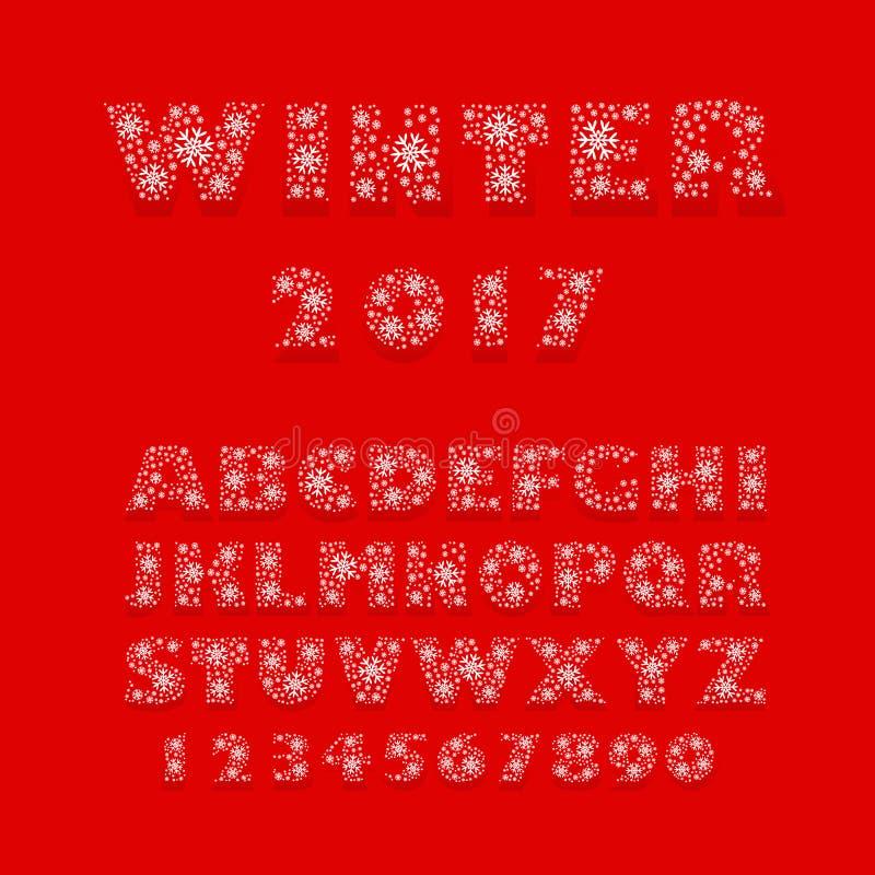 шрифт сделанный из снежинок иллюстрация штока