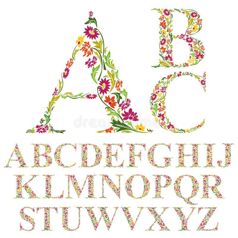 Шрифт сделанный с листьями, флористическими установленными письмами алфавита иллюстрация штока