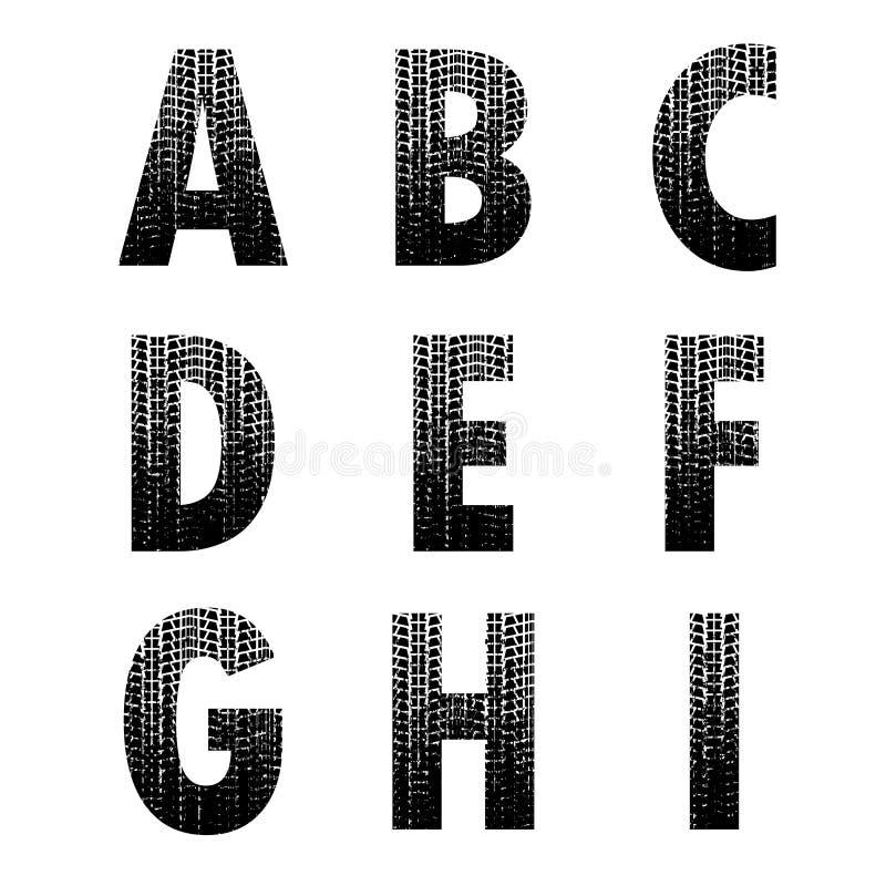 Шрифт 1 следа автошины Grunge бесплатная иллюстрация