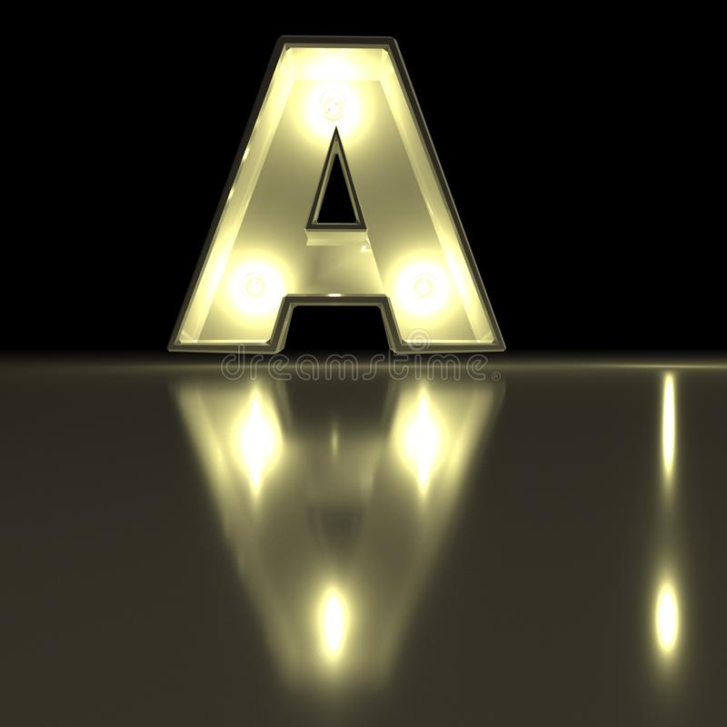 Шрифт характера a с отражением Alph письма электрической лампочки накаляя иллюстрация штока
