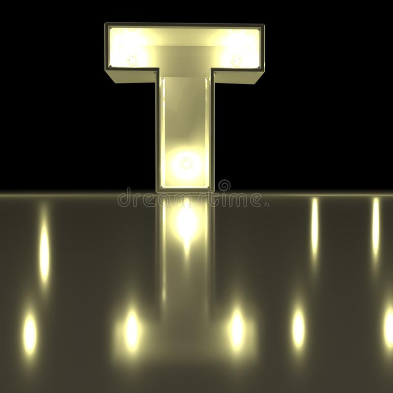 Шрифт характера t с отражением Alph письма электрической лампочки накаляя иллюстрация вектора