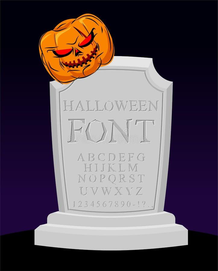 Шрифт хеллоуина Высекаенный алфавит Письма на надгробной плите sepulchra иллюстрация штока
