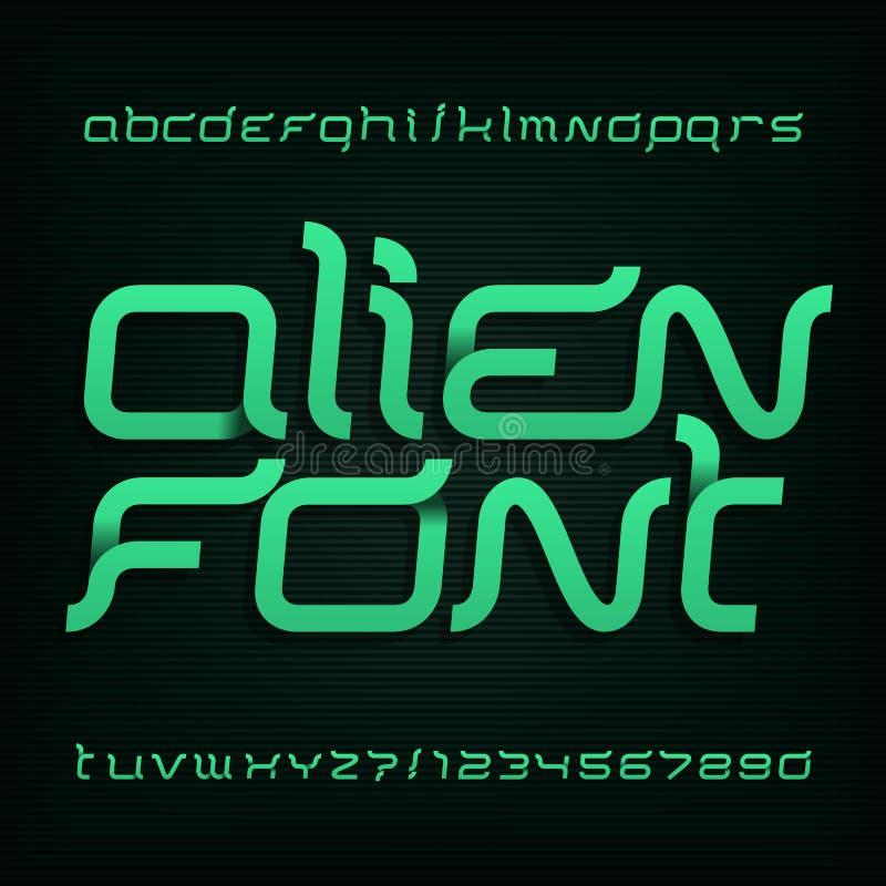 Шрифт чужеземца Абстрактная пальмира алфавита Причудливый тип письма и номера иллюстрация вектора