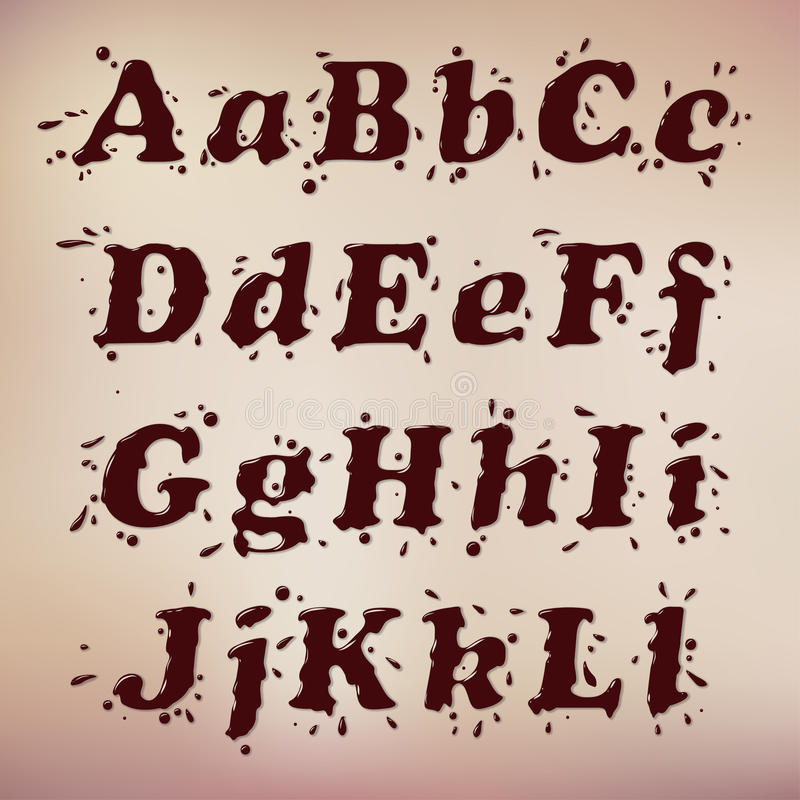 Шрифт шоколада иллюстрация вектора