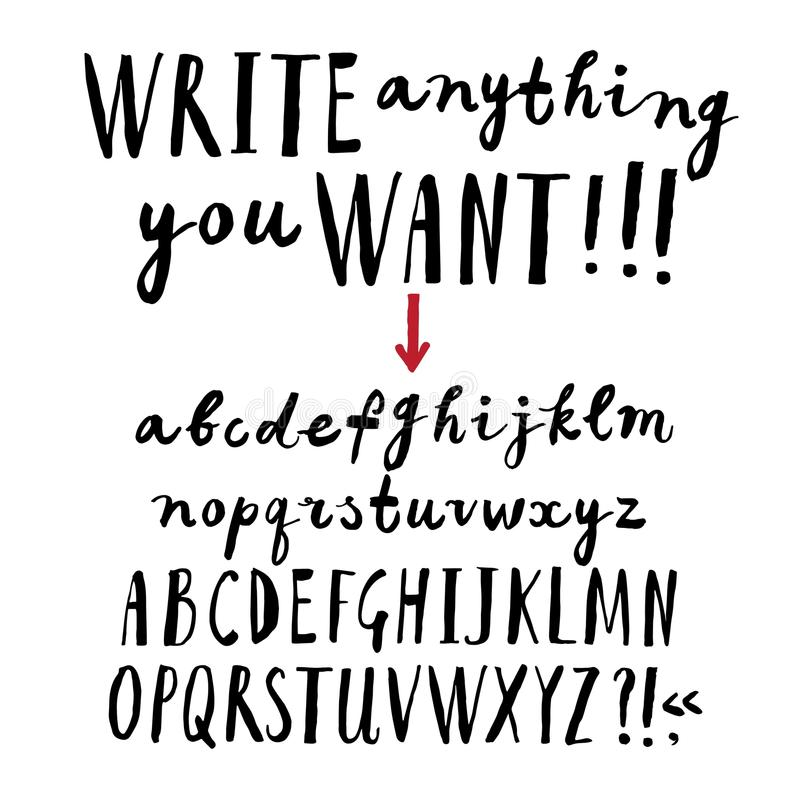 Шрифт щетки нарисованный рукой бесплатная иллюстрация