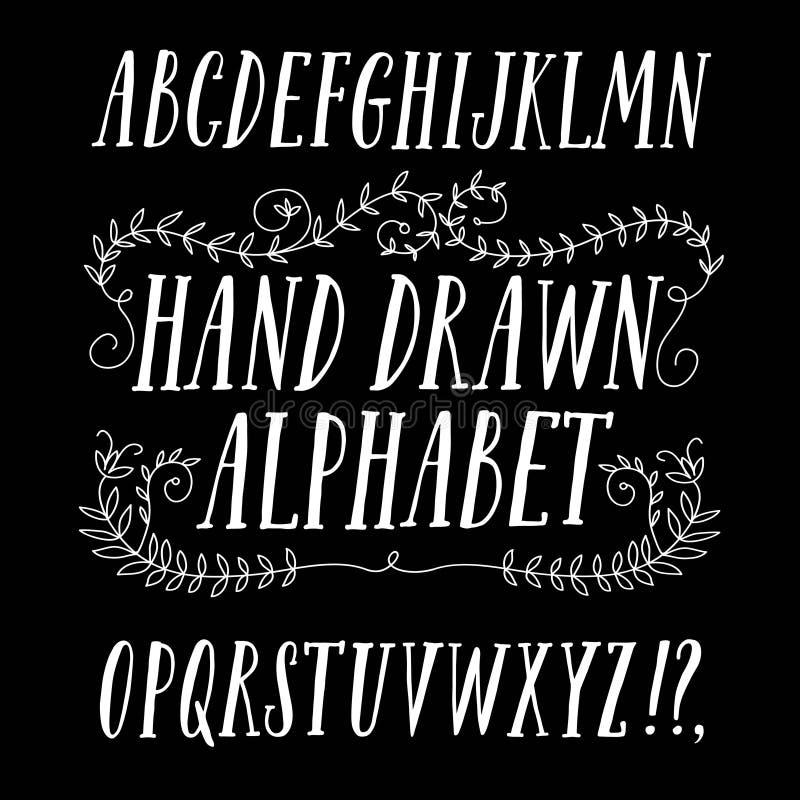 Шрифт щетки нарисованный рукой иллюстрация штока