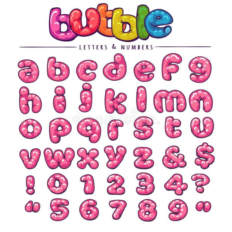 Шрифт bubblegum шаржа иллюстрация вектора