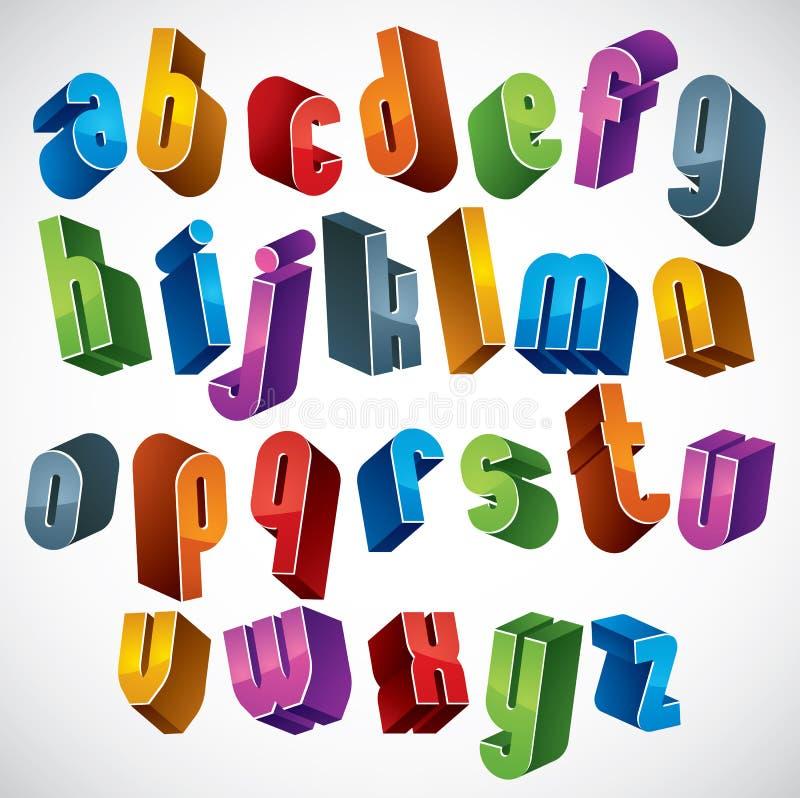 шрифт 3d, vector красочные письма, геометрический трехмерный алфавит иллюстрация штока