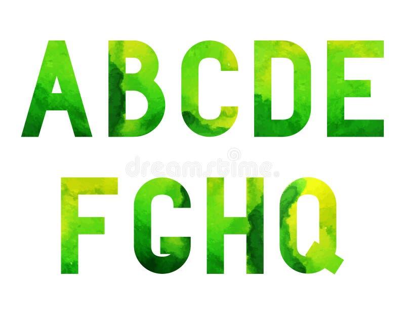 Шрифт Green-01 акварели иллюстрация штока