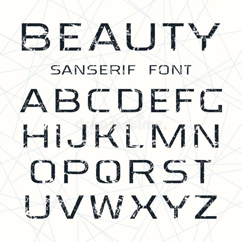 Шрифт Sanserif в тонкой линии стиле иллюстрация вектора