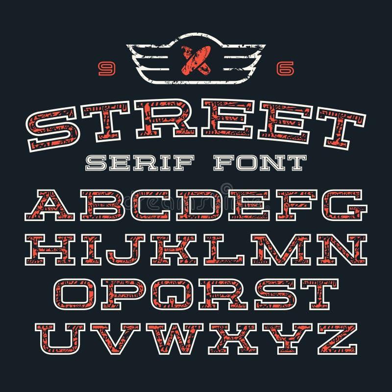 Шрифт Serif в стиле улицы иллюстрация вектора