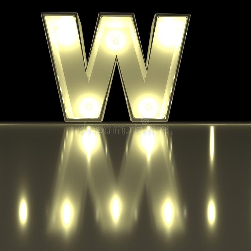 Шрифт w характера с отражением Alph письма электрической лампочки накаляя иллюстрация штока