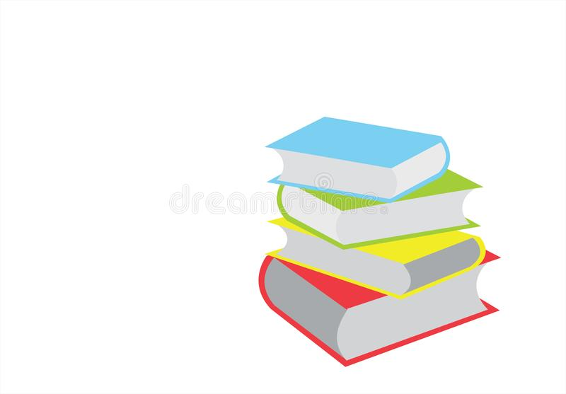 Штабелировать книг Раскройте книгу, книги hardback на белой предпосылке задняя школа к Скопируйте космос для текста иллюстрация бесплатная иллюстрация
