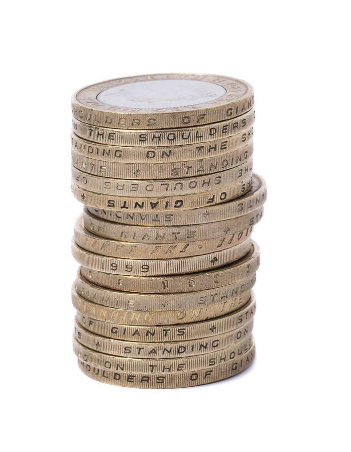 Штабелированная Великобритания 2 монетки фунта стоковое изображение