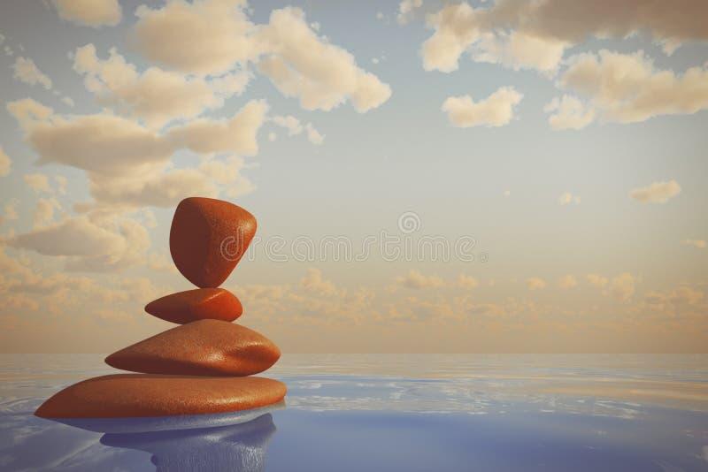 Штабелированные камни в море стоковое фото rf