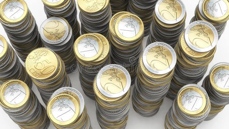 Штабелированные монетки евро иллюстрация штока