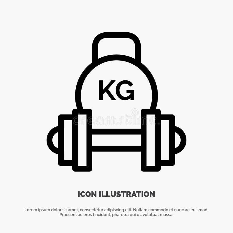 Штанга, гантель, оборудование, колокол чайника, линия вектор веса значка иллюстрация штока