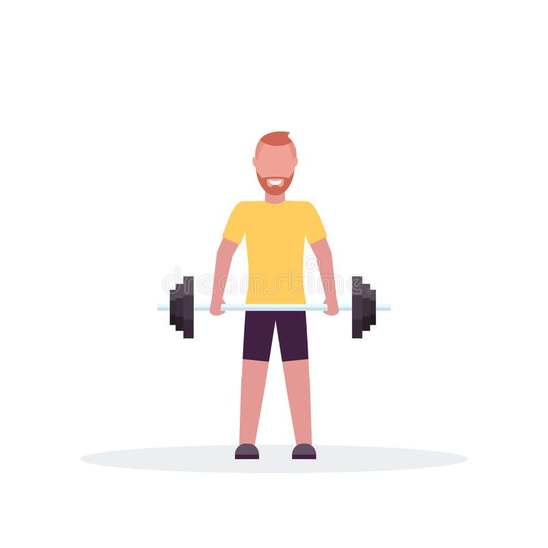 Штанга Sporty человека поднимаясь с тренировкой культуриста весов в спортзале разработать здоровое представление положения концеп иллюстрация штока