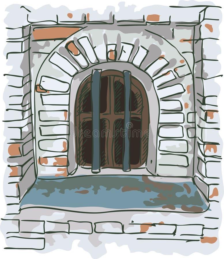 штанги заключают старое окно в тюрьму иллюстрация вектора